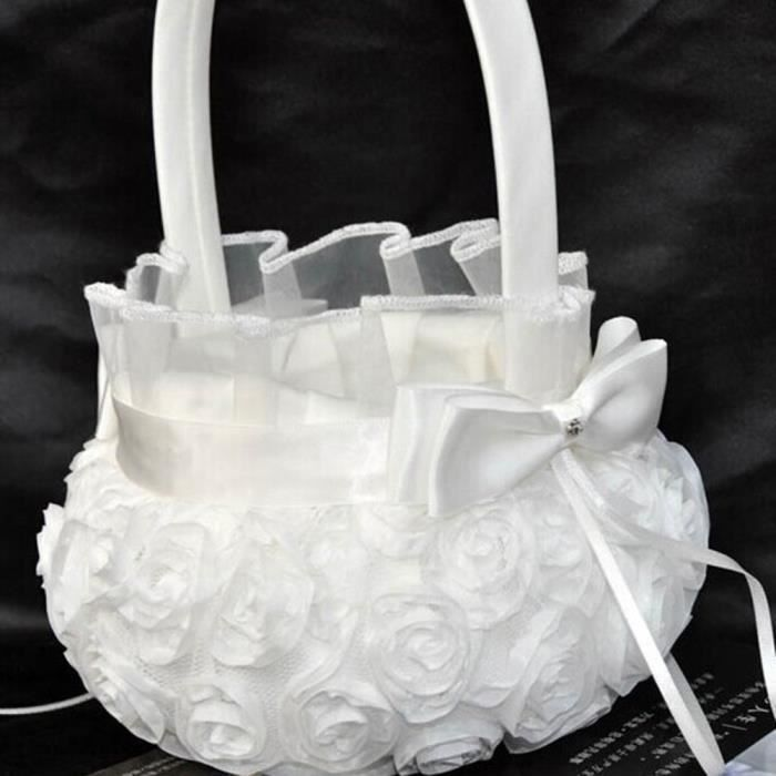 Blanc fleur fille panier d coration pour mariage achat vente bo te drag es soldes d s - Soldes decoration mariage ...