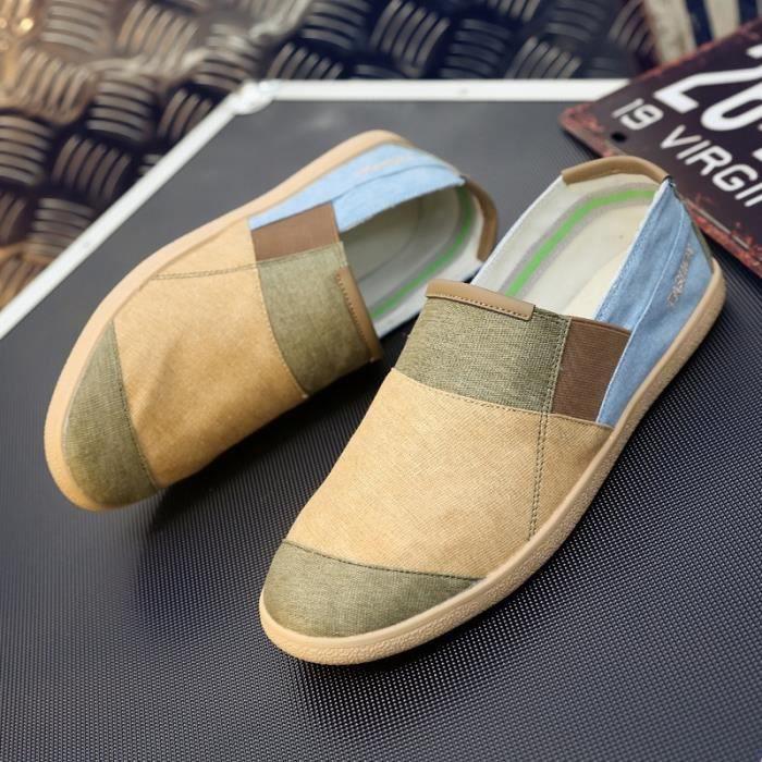 chaussures multisport Homme de sport en plein air de marche tendance PLATS conduite pour hommes marron taille40