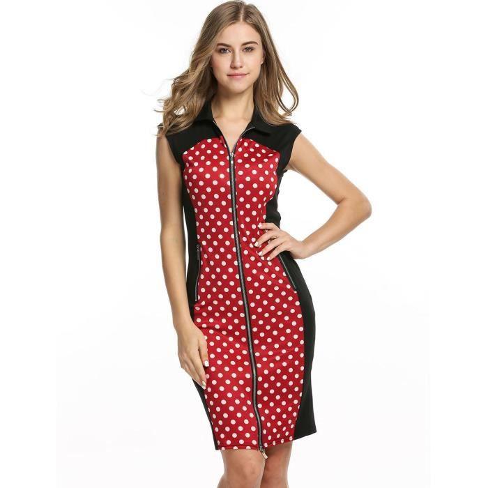 robe de femme col montant sans manches couture fermeture éclair Dot crayon rétro