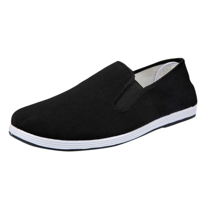 Noir Chaussures Sneakers Sport Casual Solide Hommes Slip on Respirant Garçons Courir Toile 6qPEOwv4x
