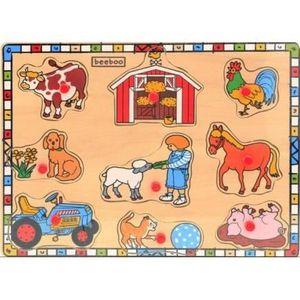 PUZZLE PUZZLE EN BOIS ANIMAUX DE LA FERME 9 PIECES - B...