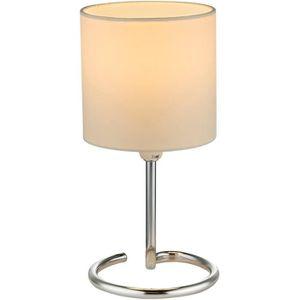 LAMPE A POSER Lampe contemporaine ELFI argentée et blanche en mé