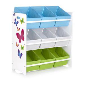 tag re de rangement pour enfant avec 9 bacs en tissu motif papillons achat vente meuble. Black Bedroom Furniture Sets. Home Design Ideas