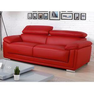 canape 2 places cuir rouge achat vente pas cher. Black Bedroom Furniture Sets. Home Design Ideas