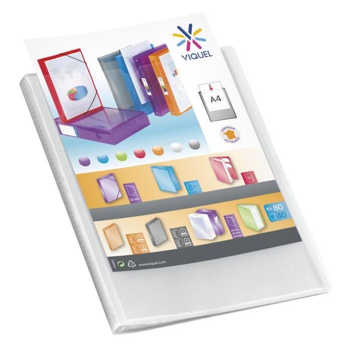 VIQUEL Protège-documents personnalisable - Format A4 - 80 vues - Incolore