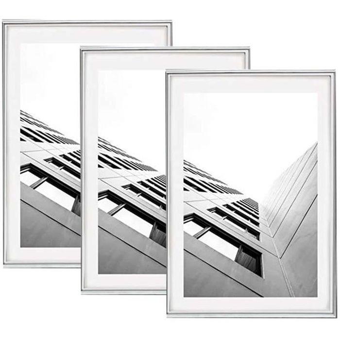 lot de 2 cadres photo 40x60 cm argent ou 60x40 cm vitre. Black Bedroom Furniture Sets. Home Design Ideas