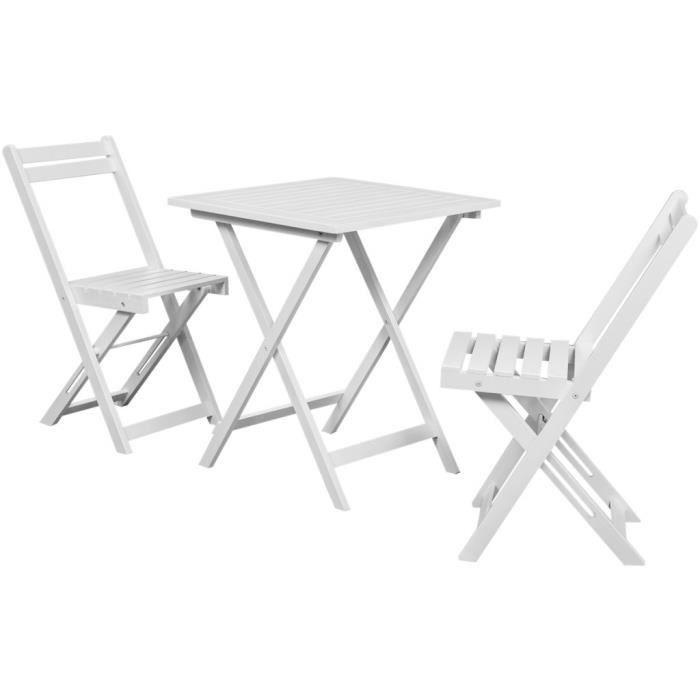 P88 Vidaxl Table A Manger Avec Deux Chaises Pour Balcon Blanc Bois D