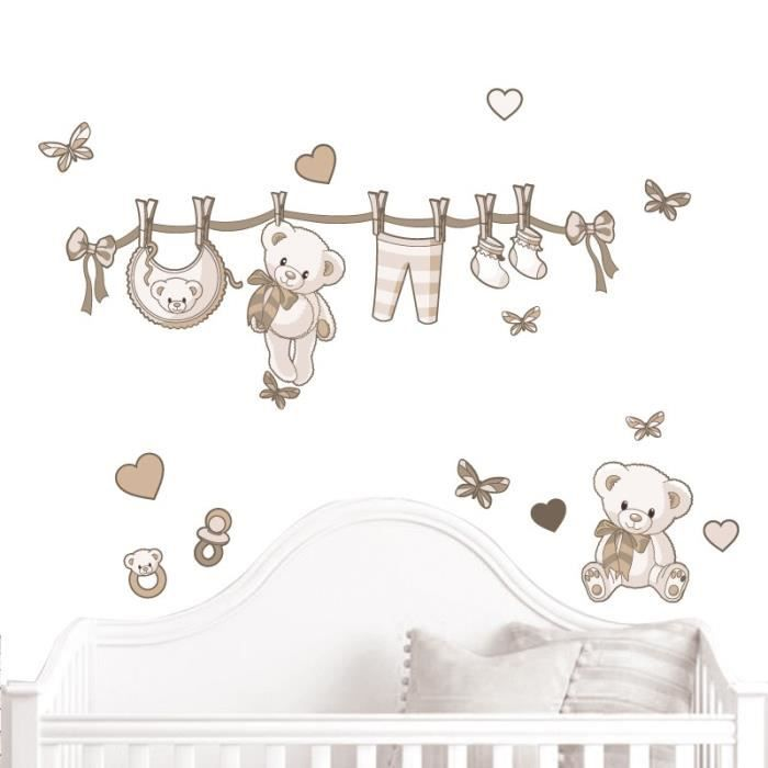 Stickers b b oursons naissance beige kit d co complet for Stickers nounours pour chambre bebe