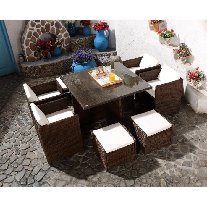 MIAMI 8 - Salon de Jardin encastrable 8 places en résine tressée ...