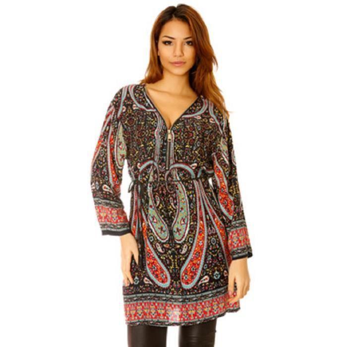 6ad6beae265d4 Tunique Noir et Rouge à Zip avec motif Arabesque - Noir noir rouge ...