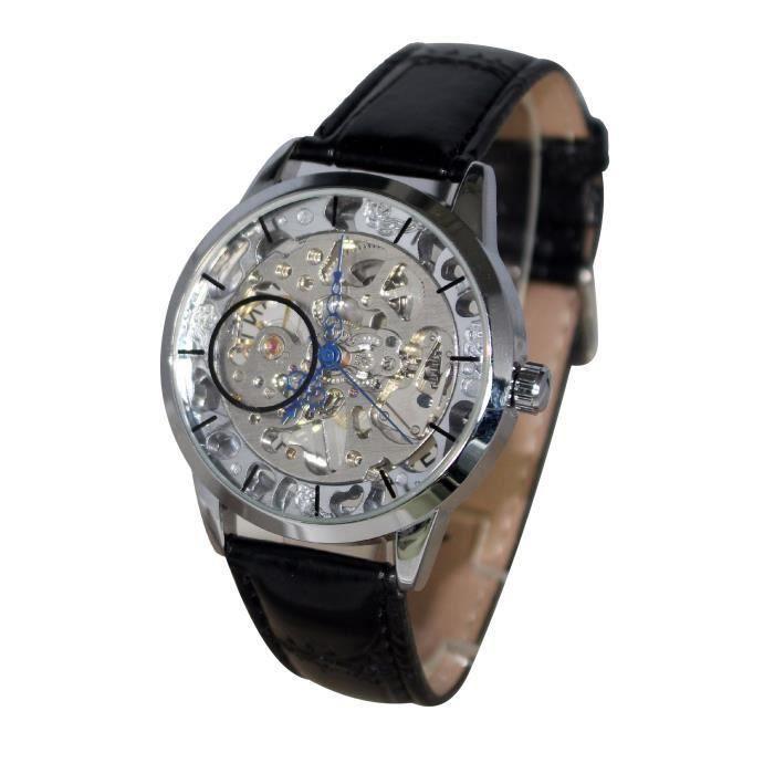 montre homme automatique squelette bracelet cuir achat vente montre montre homme automatique. Black Bedroom Furniture Sets. Home Design Ideas