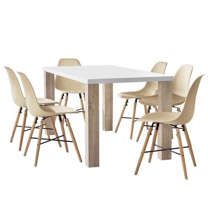 En Casa Table A Manger Chene Blanc Avec 6 Chaises Beige160x85cm