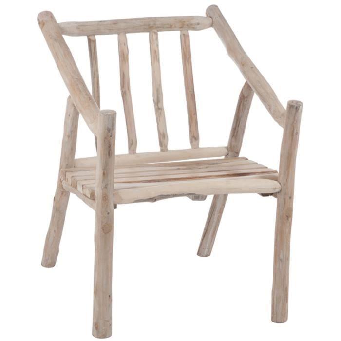 Chaise Avec Accoudoirs Branches Bois Naturel