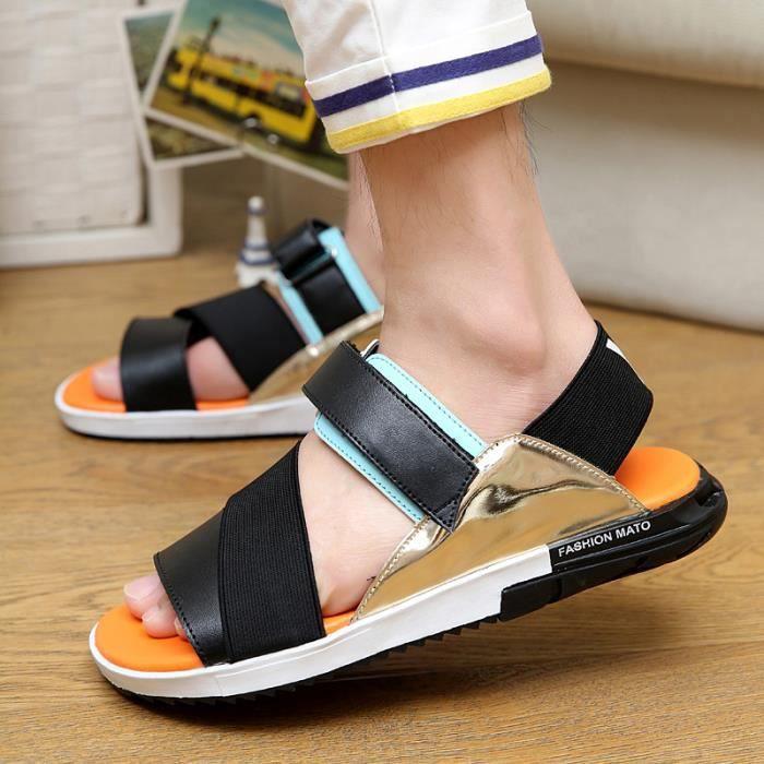 2016 nouvelles sandales d'été des hommes occasionnels pantoufles hommes sandales tête de poisson
