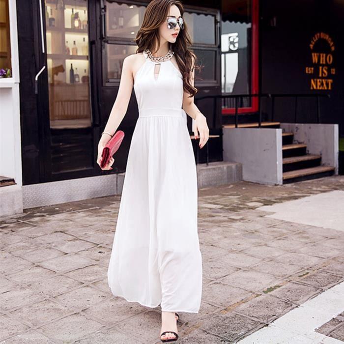 0d2a69976fd Femmes Robe Longue 2016 Robe d été style sans manches la vente Nouveau Hot  européenne robe en mousseline de soie couleur unie