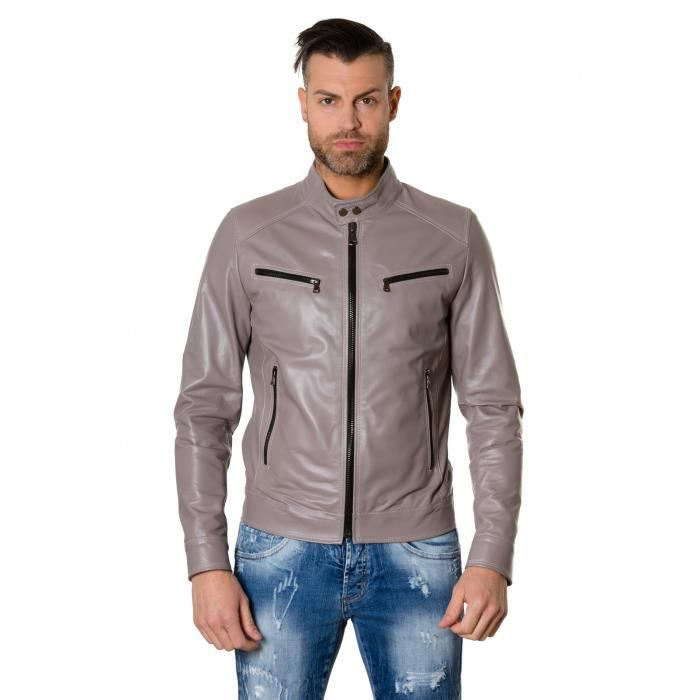 gris gris gris Colore Blouson Blouson Blouson Hamilton Aspect Couleur Style Vintage D'agneau Motard Gris Homme Cuir vvPnqEgrxw