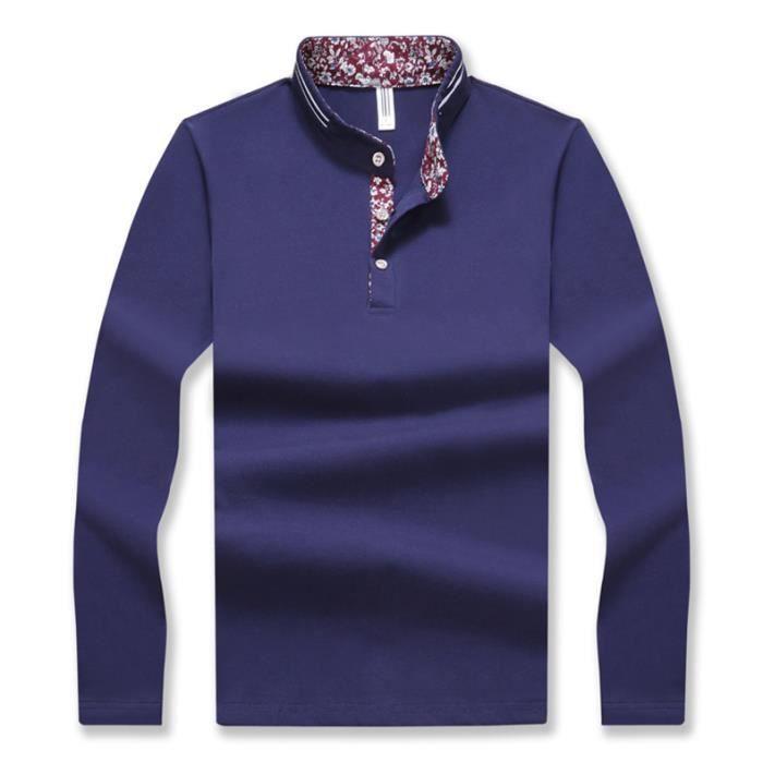67a8ac768f953 JTONG Uni Polo Homme Manches Longues Vintage Bouton Classique tee shirt  Mince Fit Confortable en Coton Elastique
