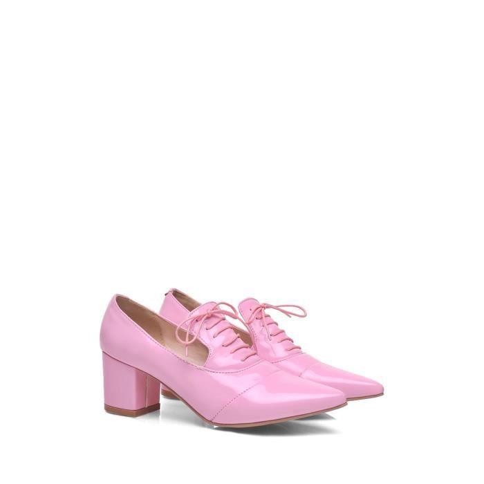 Escarpin Femmes Pompes Pointu Bout carré Talon Solide Couleur Chaussures de lacer élégant 9187850 ux5ycMu