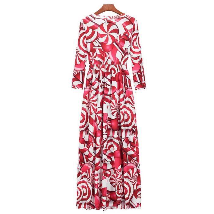 Parti Les Longue De Longues Exquisgift Robe Noël Dames Manches rouge Femmes Impriment Soirée Maxi rrFRvz