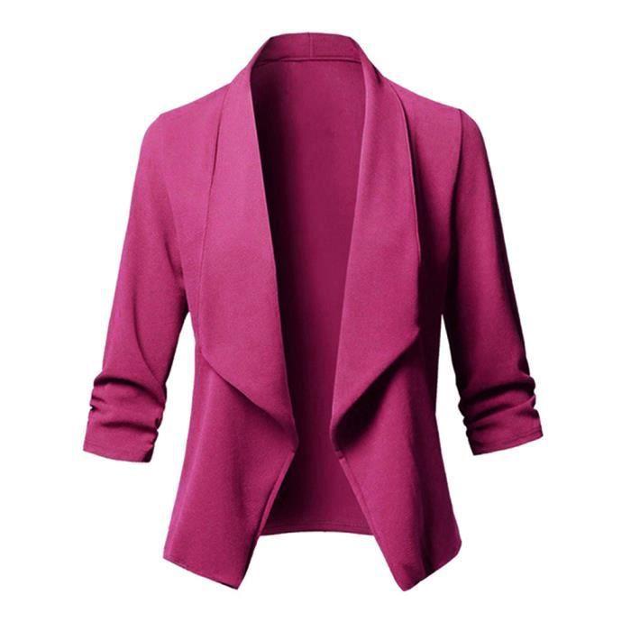 Minetom Femme Blazer Basique Ajusté Élégant Manches Longues OL Bureau  Affaires Manteau Revers Slim Fit Blouson Veste 0076fda46139
