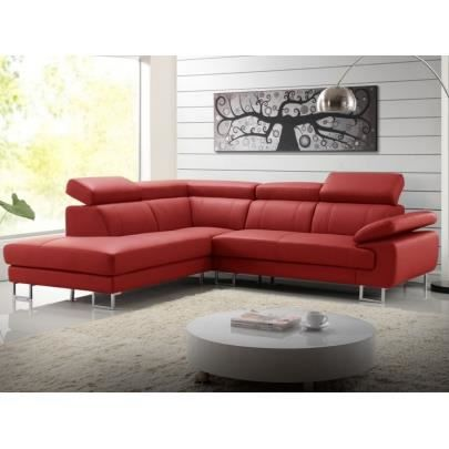 Canapé d angle cuir COLISEE Rouge Angle gauche Achat Vente