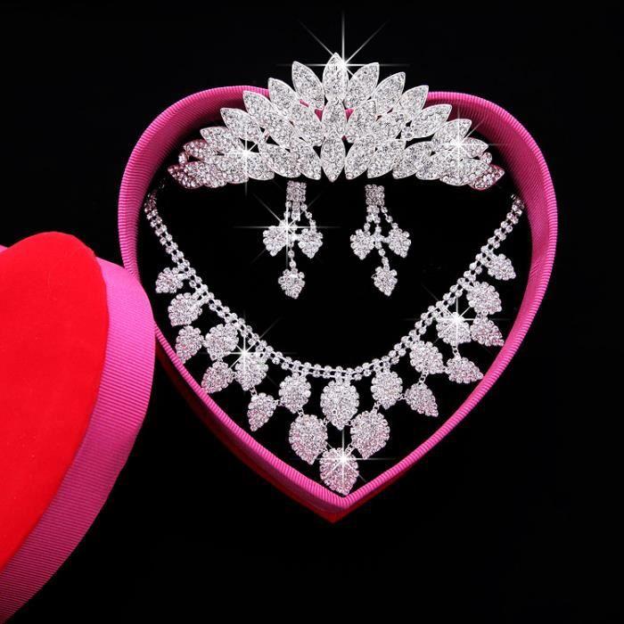 jeune mariée Mariage Ensemble de bijoux - Collier boucles doreilles coiffure Couronne 098