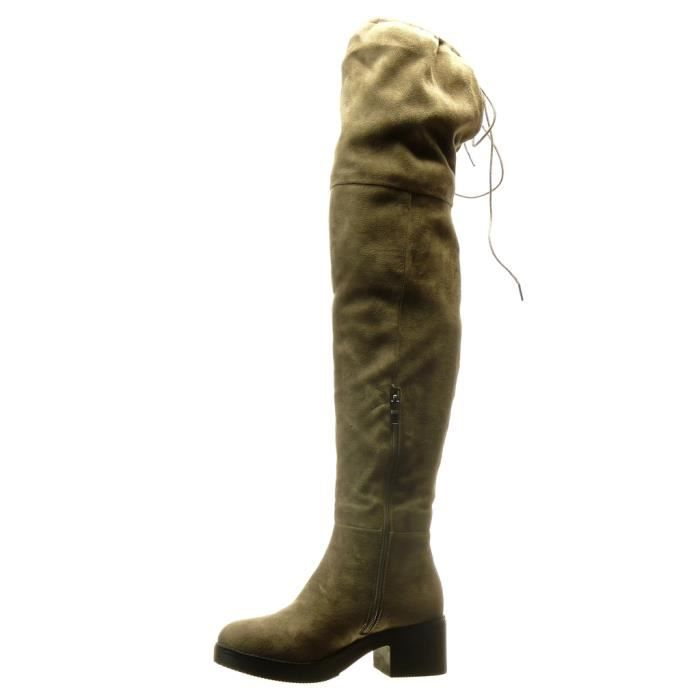 Angkorly - Chaussure Mode Cuissarde Botte sexy souple femme Talon haut bloc 5 CM - Taupe - BS015