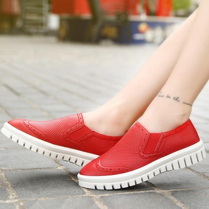 chaussures multisport Femme Plate-forme de coréenne douce sport en cuir Souliers simples de femmeblanc taille37 XUemwxmwsw