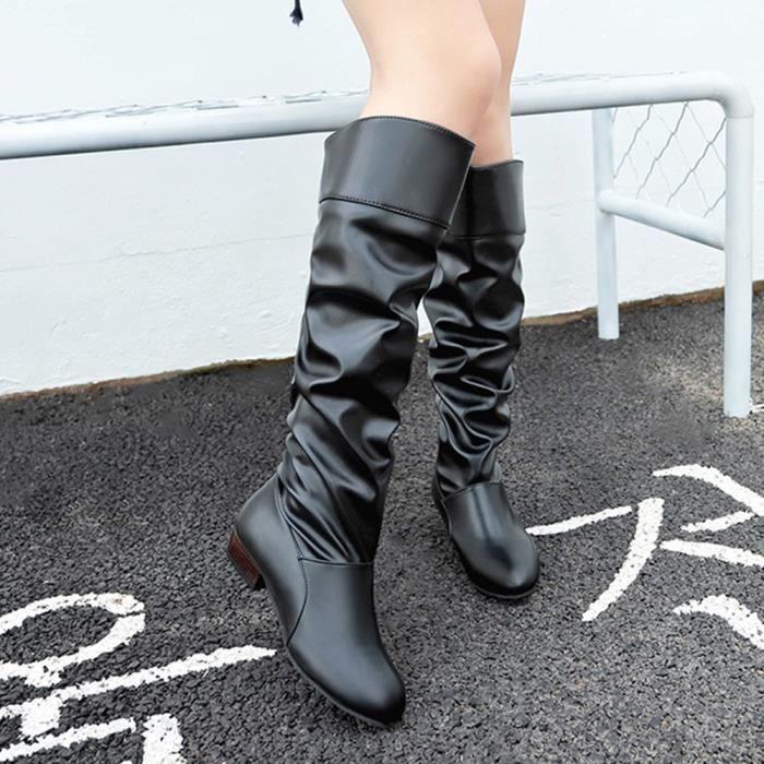 Genou Cuir confor1285 Hight Party Plates Couleur Mules Solide Femmes Bottes De En Chaussures qv8WwE7xgH