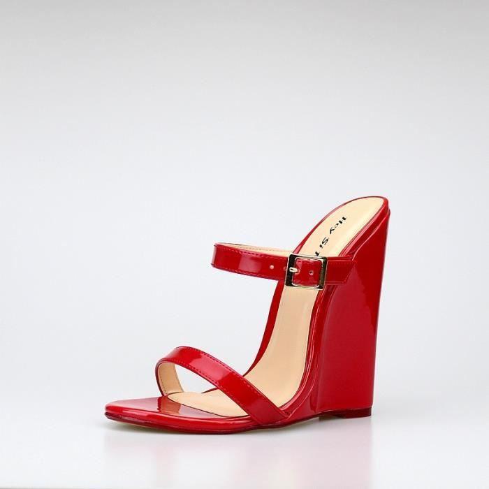 2017 Sandales à bride arrière à toit ouvert 14cm solide Melissa Chaussures pour femmes sexy Pu Compensées Sandales Femme Party