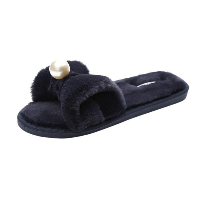 Sliders Flat Slipper Noir Fluffy Flip Flop Faux Slip Fourrure Dames Sandale On Femmes CBq00t