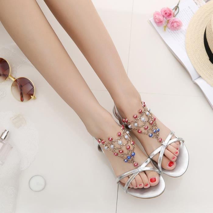 Nouveau véritables chaussures en cuir sandales femme mariée pompes de luxe bout ouvert talons chunky argent transparent sandales de