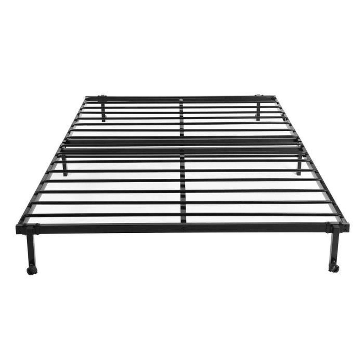 lit double en mtal cadre de lit pliant structure lit de rechange base avec roue verrouillable noir 1965 x 140 cm - Lit Double Pliant