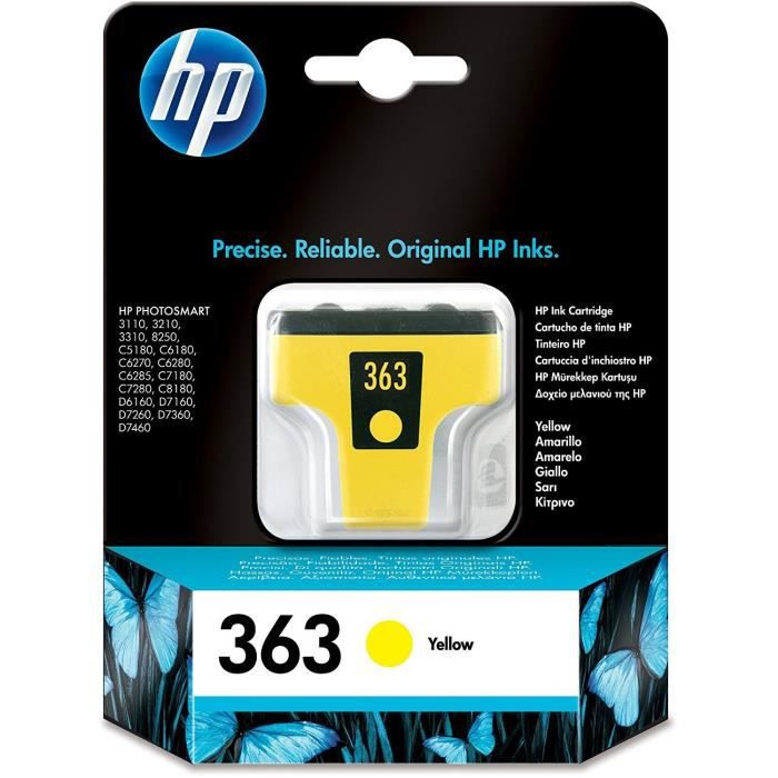HP Pack de 1 Cartouche d'encre 363 - Jaune - 6 ml - 500 pages - Blister