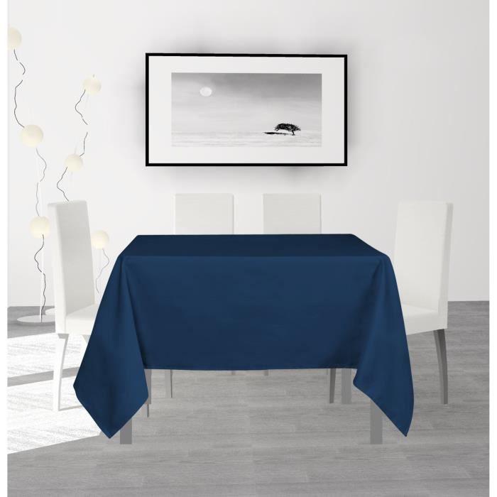 SOLEIL D'OCRE Nappe anti-tâches carrée Alix - 140 x 140 cm - Bleu marine