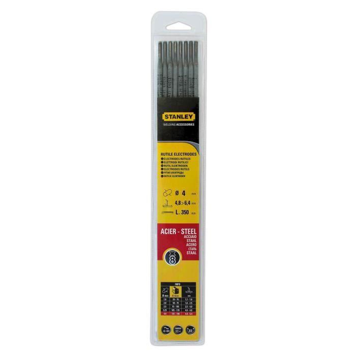 STANLEY 460740 Lot de 8 électrodes rutiles acier - Ø 4 mm - L 350 mm - Baguettes de soudure