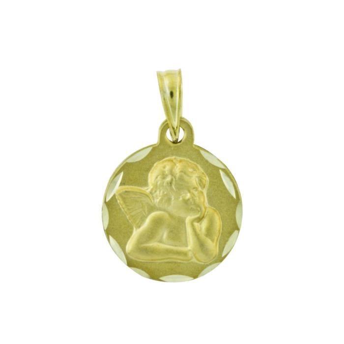 YSORA - Médaille Ange en Or Jaune 9 Carats - Enfant