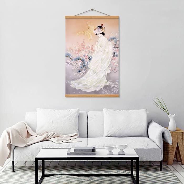 Japon Style Affiche Décoration Prune Fleur Rose Kimono Dame Toile Peinture  Mur Art Image pour Salon Décoration(50X70CMX1)