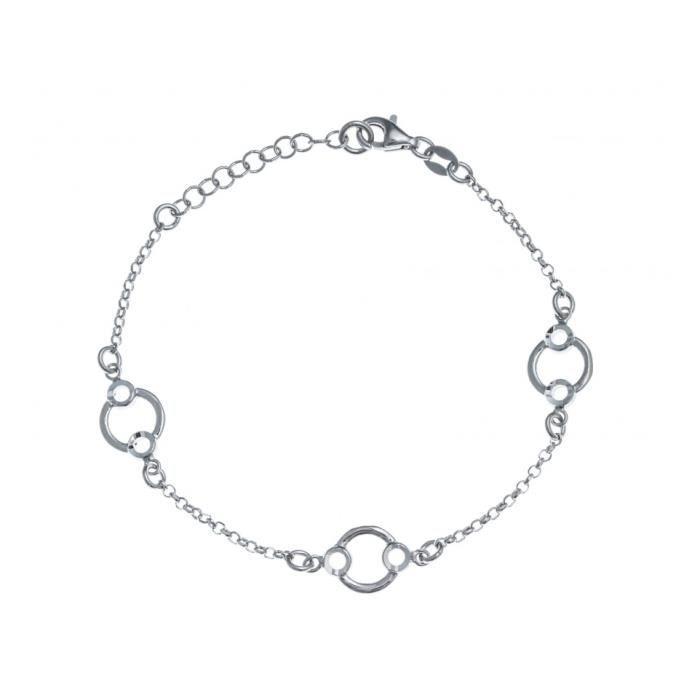 Bracelet argent rhodié - 3 ronds - 17+3cm - RE 307 Gris