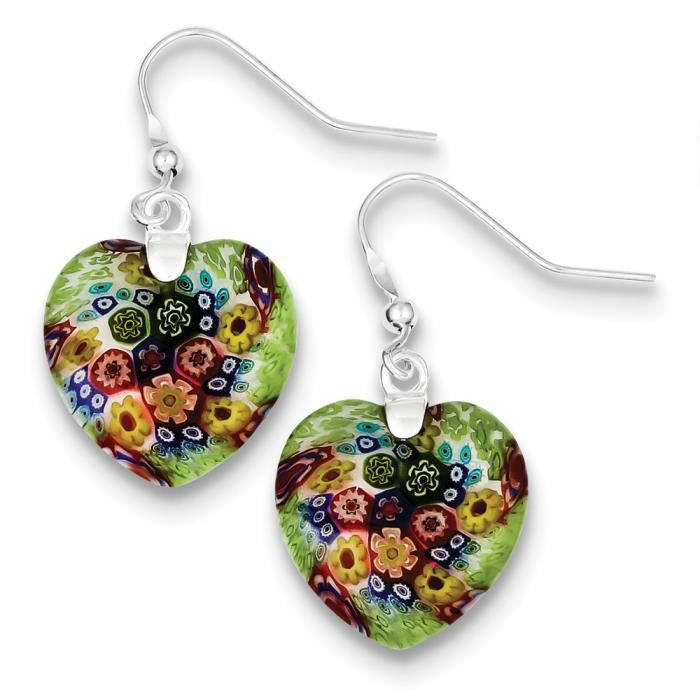 Multicolore-Argent 925/1000 poli-Boucles doreilles pendantes cœur