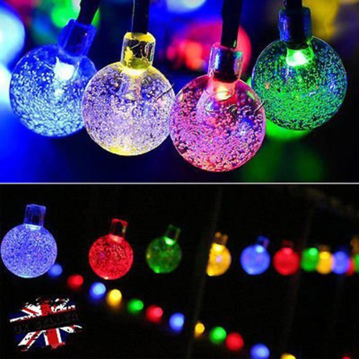 Guirlandes Dénergie Solaire Cadeau Décor Pour Noel Fête Mariage 30led En Forme De Boule Leds Lampe Solaire Multicolore