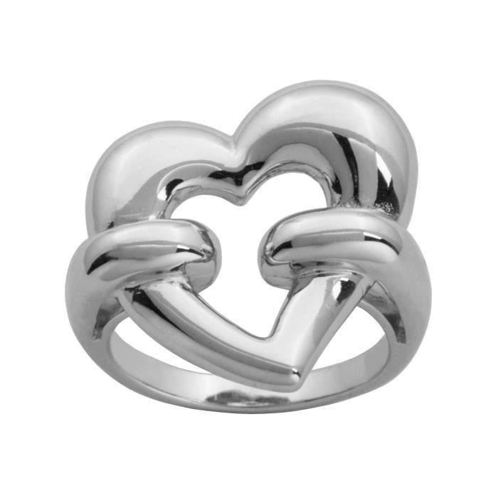 Jewel Panda Rhodium en argent sterling plaqué Bague cœur ouvert, Taille 9