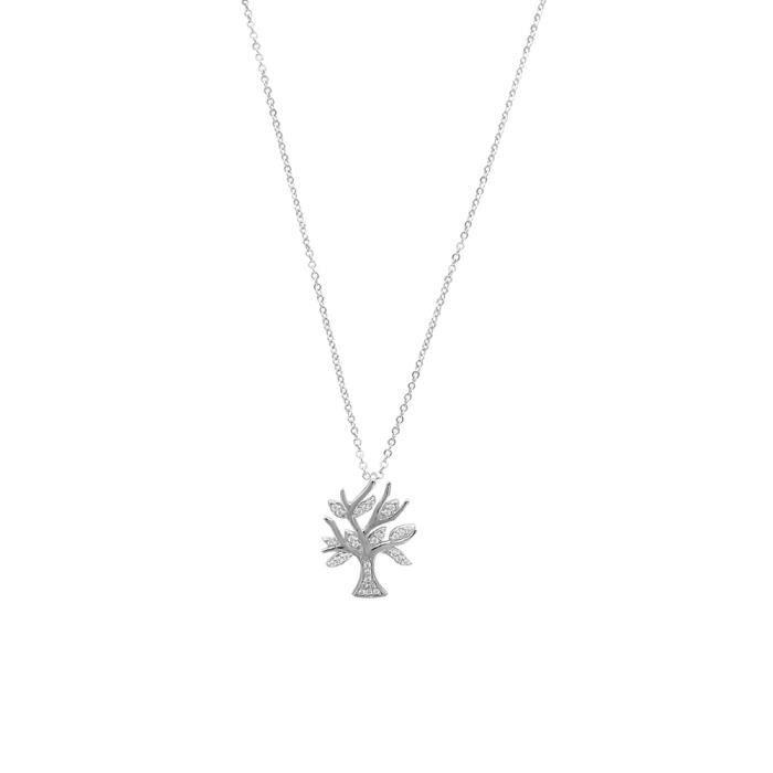 Jouailla - Collier microserti Arbre avec oxydes de zirconium sur argent 925/1000e rhodié