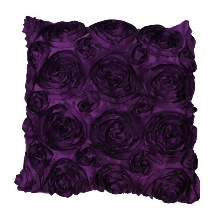 Taie D'oreiller Housse Coussin Satin Rose Violet 42x42cm   Achat