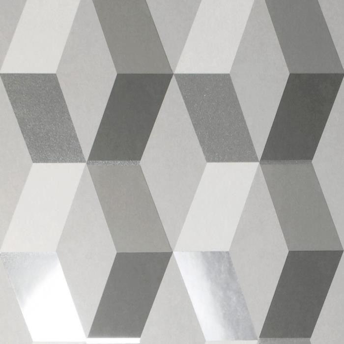 Crown Luxe Mayfair Hatton Papier Peint Geometrique Gris M1470