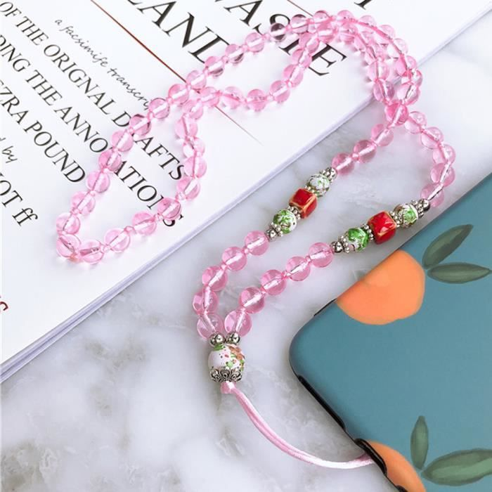 Dragonne Collier De Rose En Perle Téléphone Plastique Cou Tour Pendentif 7Ybyf6g