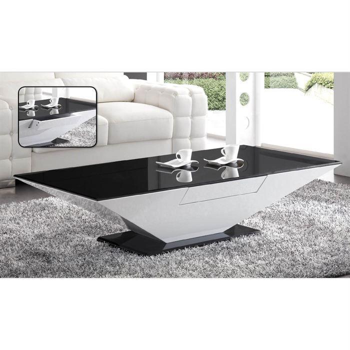 Table basse laqu e blanc et verre noir elyane achat for Table basse noir et blanc pas cher