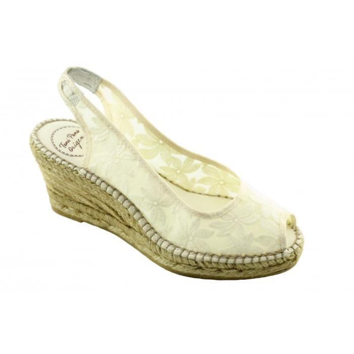 Cecile - Espadrille compensée Soie Sauvage tendance marque Toni PONS chaussures Femme petite pointure tailles toile noir OXVUh