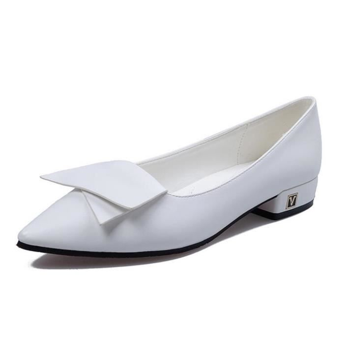 Femmes Flats Chaussures2017 Mesdames MocassinsChaussures à talon carré Toe Oxford Pointu Femmes Printemps Marque Bow Plate-forme