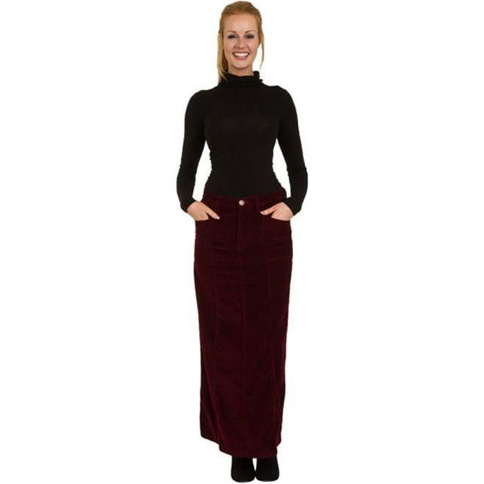 11b891097ddea USKEES LISA Jupe longue en velours côtelé Maxi Jupe EU Sizes 38-50 ...